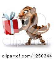 Clipart Of A 3d Tiger Roaring And Holding A Present 2 Royalty Free Illustration