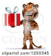Clipart Of A 3d Tiger Holding A Present Royalty Free Illustration