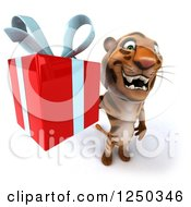 Clipart Of A 3d Tiger Holding Up A Present Royalty Free Illustration