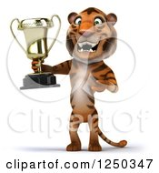 Clipart Of A 3d Tiger Holding A Trophy Royalty Free Illustration