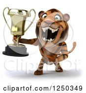 Clipart Of A 3d Tiger Roaring And Holding A Trophy Royalty Free Illustration