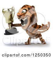 Clipart Of A 3d Tiger Roaring And Holding A Trophy 2 Royalty Free Illustration