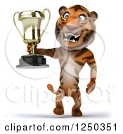 Clipart Of A 3d Tiger Walking With A Trophy Royalty Free Illustration