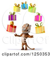 Clipart Of A 3d Tiger Juggling Presents 2 Royalty Free Illustration