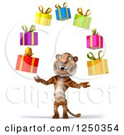 Clipart Of A 3d Tiger Juggling Presents Royalty Free Illustration