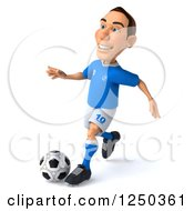 Clipart Of A 3d Italian Soccer Player In Action Royalty Free Illustration