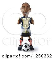 Clipart Of A 3d Black French Soccer Player With A Trophy Royalty Free Illustration