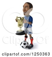 Clipart Of A 3d Black French Soccer Player With A Trophy 2 Royalty Free Illustration