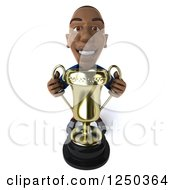 Clipart Of A 3d Black French Soccer Player With A Trophy 3 Royalty Free Illustration