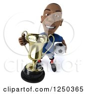 Clipart Of A 3d Black French Soccer Player With A Trophy 4 Royalty Free Illustration