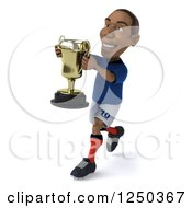 Clipart Of A 3d Black French Soccer Player Running With A Trophy Royalty Free Illustration