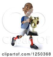 Clipart Of A 3d Black French Soccer Player Running With A Trophy 2 Royalty Free Illustration