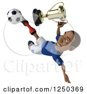Clipart Of A 3d Black French Soccer Player Kicking With A Trophy Royalty Free Illustration