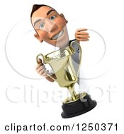 Clipart Of A 3d German Soccer Player Holding A Trophy Around A Sign Royalty Free Illustration by Julos