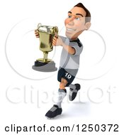 Clipart Of A 3d German Soccer Player Running With A Trophy Royalty Free Illustration