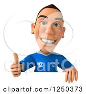 Clipart Of A 3d Italian Soccer Player Holding A Thumb Up Over A Sign Royalty Free Illustration