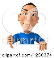 Clipart Of A 3d Italian Soccer Player Holding A Thumb Down Over A Sign Royalty Free Illustration