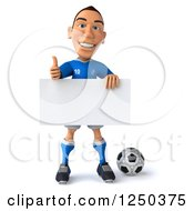 Clipart Of A 3d Italian Soccer Player Holding A Blank Sign And Thumb Up Royalty Free Illustration
