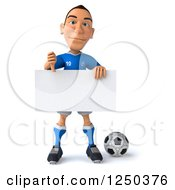 Clipart Of A 3d Italian Soccer Player Holding A Blank Sign And Thumb Down Royalty Free Illustration