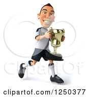 Clipart Of A 3d German Soccer Player Running With A Trophy 2 Royalty Free Illustration