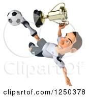 Clipart Of A 3d German Soccer Player Kicking With A Trophy Royalty Free Illustration