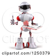 Clipart Of A 3d White And Red Robot Holding A Thumb Up And Reading A Book Royalty Free Illustration