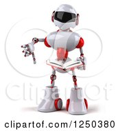 Clipart Of A 3d White And Red Robot Holding A Thumb Down And Reading A Book Royalty Free Illustration