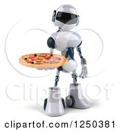 Clipart Of A 3d White Robot Holding A Pizza Royalty Free Illustration