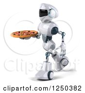 Clipart Of A 3d White Robot Walking And Holding A Pizza Royalty Free Illustration