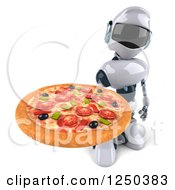 Clipart Of A 3d White Robot Holding Up A Pizza Royalty Free Illustration