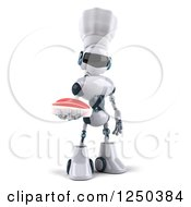 Clipart Of A 3d White Chef Robot Holding A Steak Royalty Free Illustration