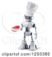 Clipart Of A 3d White Chef Robot Holding A Steak 2 Royalty Free Illustration