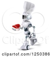 Clipart Of A 3d White Chef Robot Walking And Holding A Steak Royalty Free Illustration