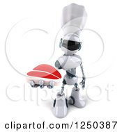Clipart Of A 3d White Chef Robot Holding Up A Steak Royalty Free Illustration