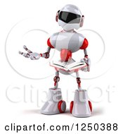 Clipart Of A 3d White And Red Robot Reading A Book Royalty Free Illustration