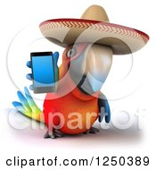 Clipart Of A 3d Mexican Macaw Parrot Holding Out A Smart Phone Royalty Free Illustration by Julos
