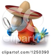 Clipart Of A 3d Mexican Macaw Parrot Looking Through A Magnifying Glass 3 Royalty Free Illustration by Julos