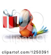 Clipart Of A 3d Macaw Parrot Holding A Gift 3 Royalty Free Illustration