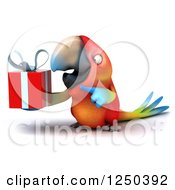 Clipart Of A 3d Macaw Parrot Holding A Gift 4 Royalty Free Illustration