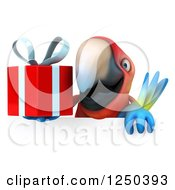 Clipart Of A 3d Macaw Parrot Holding A Gift Over A Sign Royalty Free Illustration