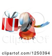 Clipart Of A 3d Macaw Parrot Flying With A Gift Royalty Free Illustration