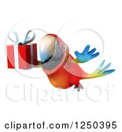 Clipart Of A 3d Macaw Parrot Flying With A Gift 2 Royalty Free Illustration