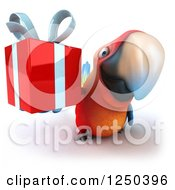Clipart Of A 3d Macaw Parrot Holding A Gift Royalty Free Illustration