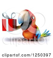 Clipart Of A 3d Macaw Parrot Holding A Gift 2 Royalty Free Illustration