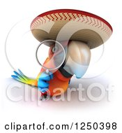 Clipart Of A 3d Mexican Macaw Parrot Looking Through A Magnifying Glass Royalty Free Illustration