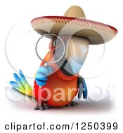 Clipart Of A 3d Mexican Macaw Parrot Looking Through A Magnifying Glass 2 Royalty Free Illustration