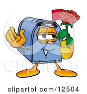 Blue Postal Mailbox Cartoon Character Holding A Red Rose On Valentines Day