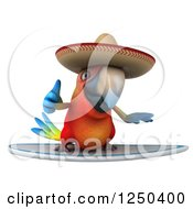 Clipart Of A 3d Mexican Macaw Parrot Surfing And Holding A Thumb Up Royalty Free Illustration