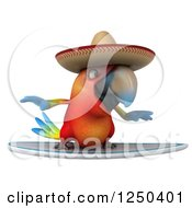 Clipart Of A 3d Mexican Macaw Parrot Surfing Royalty Free Illustration