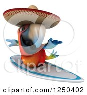 Clipart Of A 3d Mexican Macaw Parrot Surfing 2 Royalty Free Illustration
